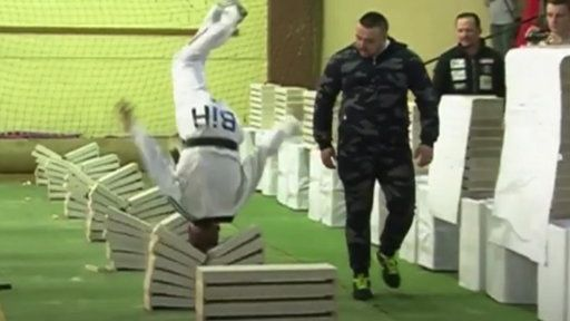 Watch Watch This Taekwondo Artist Crush 111 Blocks With His Head in Just 35 Seconds from NBC TODAY Show. Sixteen-year-old Kerim Ahmetspahic broke 111 blocks in 35 seconds using just his head. It's a head-crushing feat!