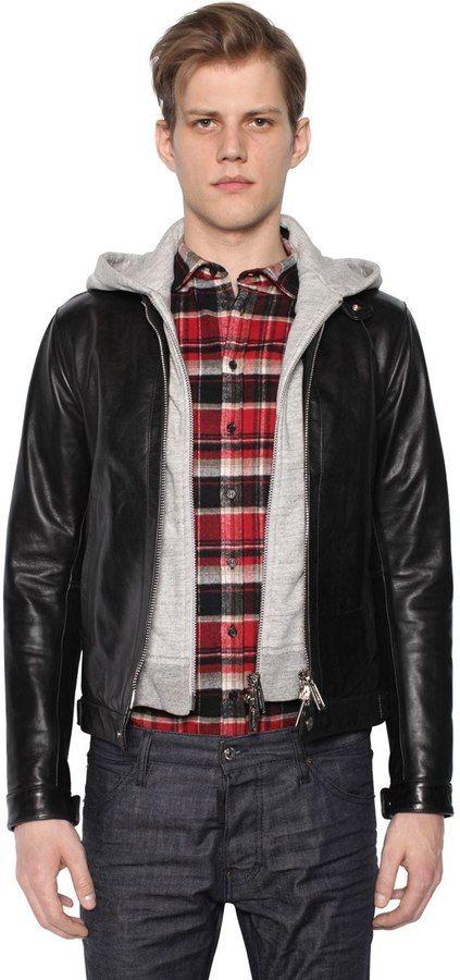 DSQUARED2 Biker Leather Jacket W/ Jersey Hood