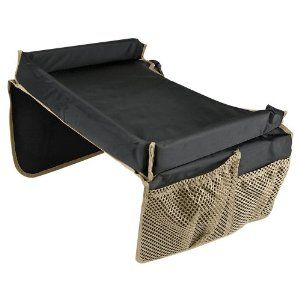 Amazon.com: Deluxe Snack & Play Kids Travel Tray: Toys & Games  This looks about like the trays we use in the car and now the plane. Straps behind the child to keep it in place.