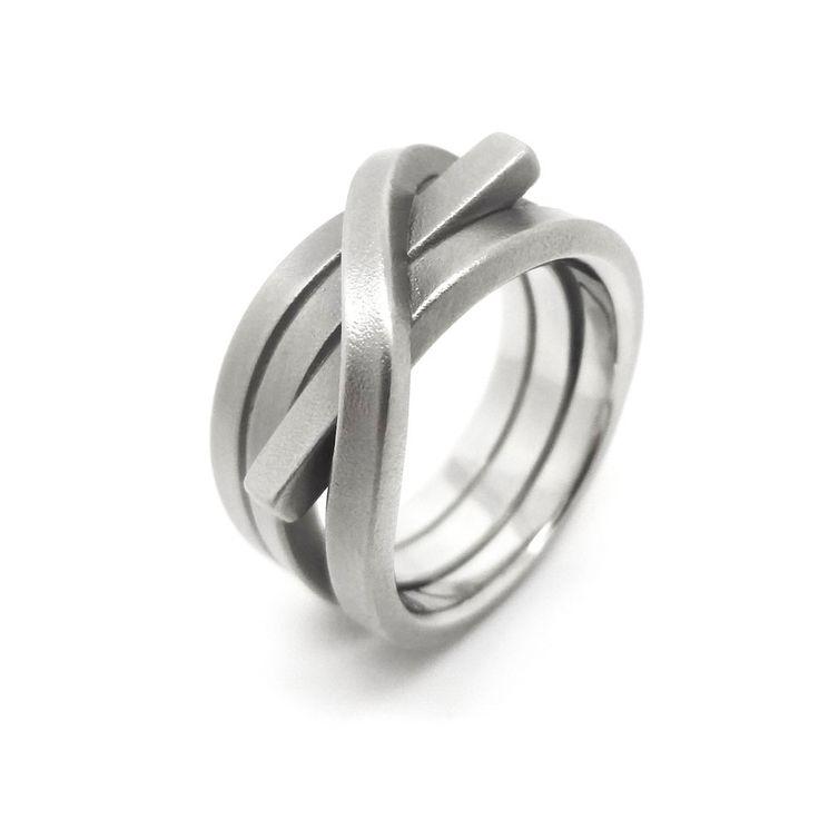 www.ORRO.co.uk - Oliver Schmidt - Large Steel Wrap Ring - ORRO Contemporary Jewellery Glasgow...