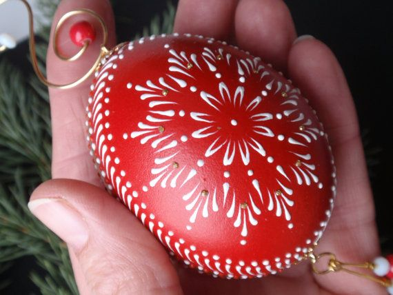 Egg Ornament in Red, Hand Painted Egg Ornament, Polish Pysanka on Etsy, $29.95
