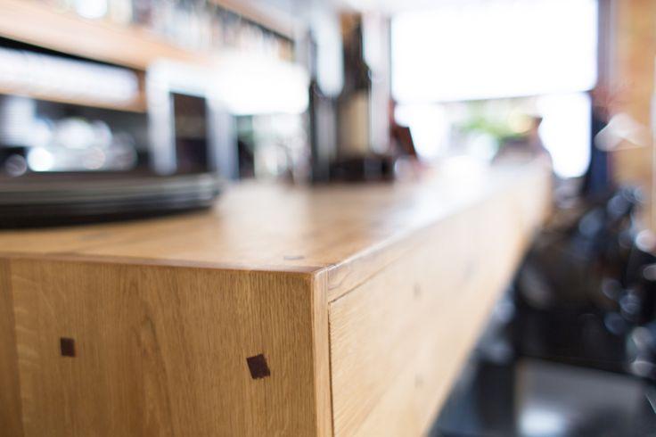 oak bar top / mahogany pins