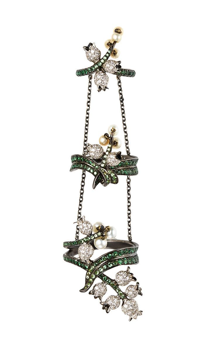 18 K Black Gold Harem King Ring With Diamonds, Pearls And Tsavorites by LYDIA COURTEILLE for Preorder on Moda Operandi