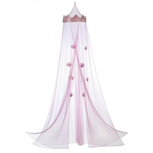 """Hang this Princess Bed Canopy over any """"royally"""" cute child's bed to make bedtime exciting. This adorable pink bed canopy features a large pink crown at the top and tiny crown ornaments hanging from t"""