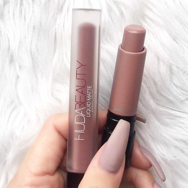 Get the perfect nude lips with Huda Beauty liquid lipstick. #makeup #makeuplove #beauty #lipstick #nudelips #liquidlipstick #hudabeauty #fabfashionfix