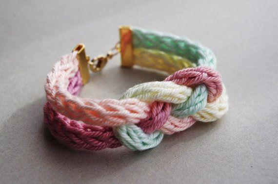 Knit tubes and Knots bracelet