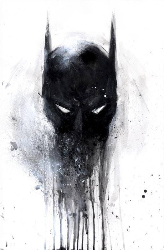 Badass melting batman mask tattoo