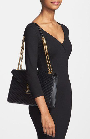 Saint Laurent \u0026#39;Cassandre Lisse - Large\u0026#39; Shoulder Bag | Nordstrom ...