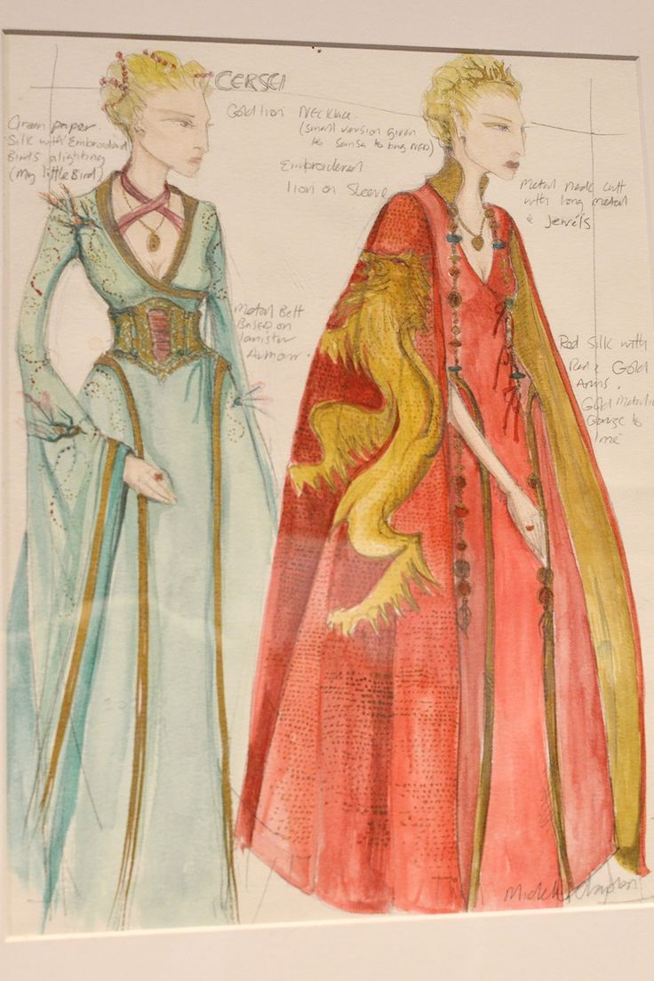 The embroidery on Cersei's clothes evolves with her character throughout the series. In the first episodes of Game of Thrones, the embroidery on Cersei's outfits feature birds. As the show continues, the birds become lions.