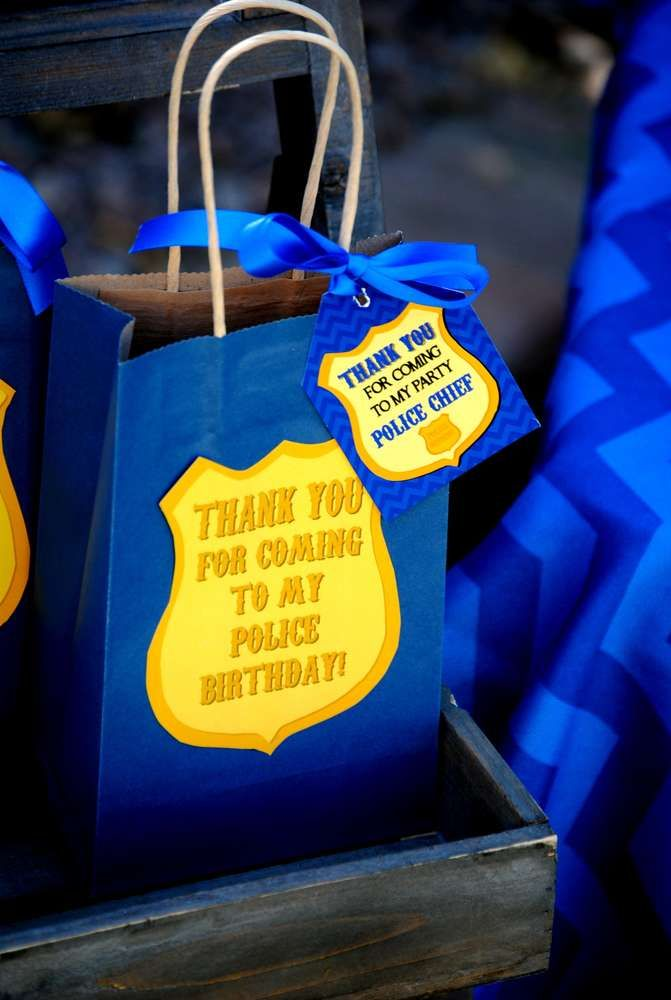 Thank you bags at a police birthday party! See more party ideas at CatchMyParty.com!