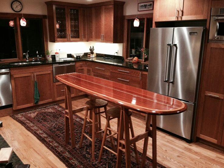 Redwood Kitchen Island Bar Table. Surfboard ...