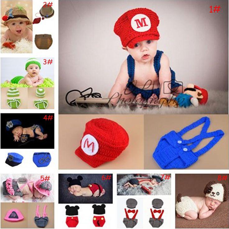 Últimas ganchillo del bebé accesorios de fotografía de punto bebé boy girl coming home trajes historieta del bebé del ganchillo sombreros recién nacido traje 1 Unidades