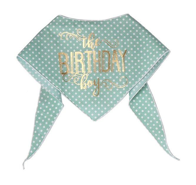 Add style to your pup's special day with the Tail Trends The Birthday Boy Dog Bandana. Go furbaby, it's your Bark-Day! This dapper accessory delivers on pup-couture fashion with gorgeous gold lettering design on polka dotted 100% cotton, expertly made by a dog-loving artisan in Los Angeles. Thanks to its stitched edge and machine washable fabric, it's comfy, ultra-wearable and easy to clean. To put it on, simply wrap around your dog's neck and he'll be ready to be the center of attention…