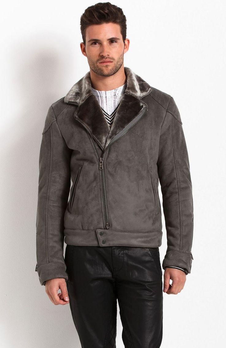 Faux Shearling Biker Jacket - New Arrivals - Mens - Armani