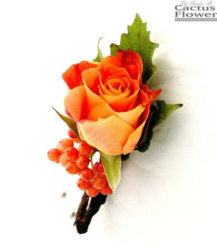 Pinterest Fall Wedding Flowers: Orange-colored Rose Boutonniere For A Fall Or Autumn