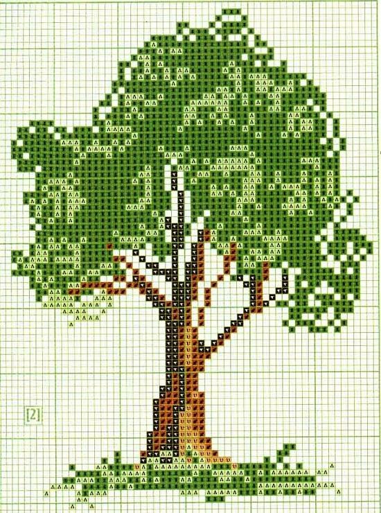 Tree pattern / chart for cross stitch, crochet, knitting, knotting, beading, weaving, pixel art, and other crafting projects
