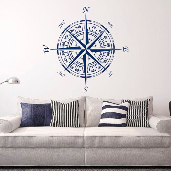 Compass Wall Decal Vinyl Stickers Nautical Decor by FabWallDecals