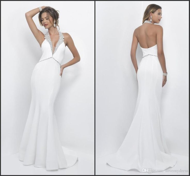 Sheath Luxury Prom Dress Sweep Train White Gown Deep V Neck Sequins Sleeveless Backless Sexy Formal Prom Dress Wonderful Gorgeous Gorgeous Prom Dresses Grey Prom Dresses From Lovemydress, $116.59| Dhgate.Com