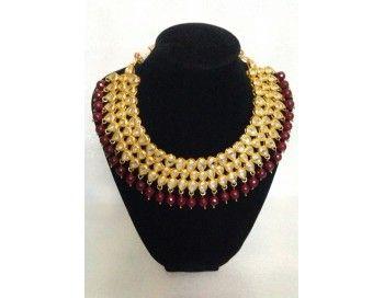 Kundan maroon beads set