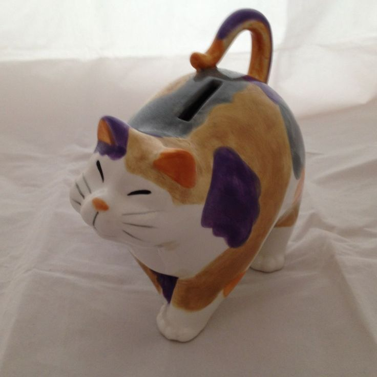 Fitz and Floyd Ceramic Whimsical Calico Cat Piggy Bank with Stopper #FitzandFloyd #Whimsical