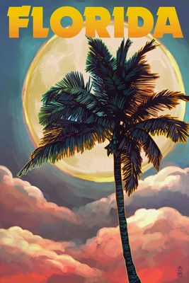 Florida - Sunset and Palm Tree - Lantern Press Poster