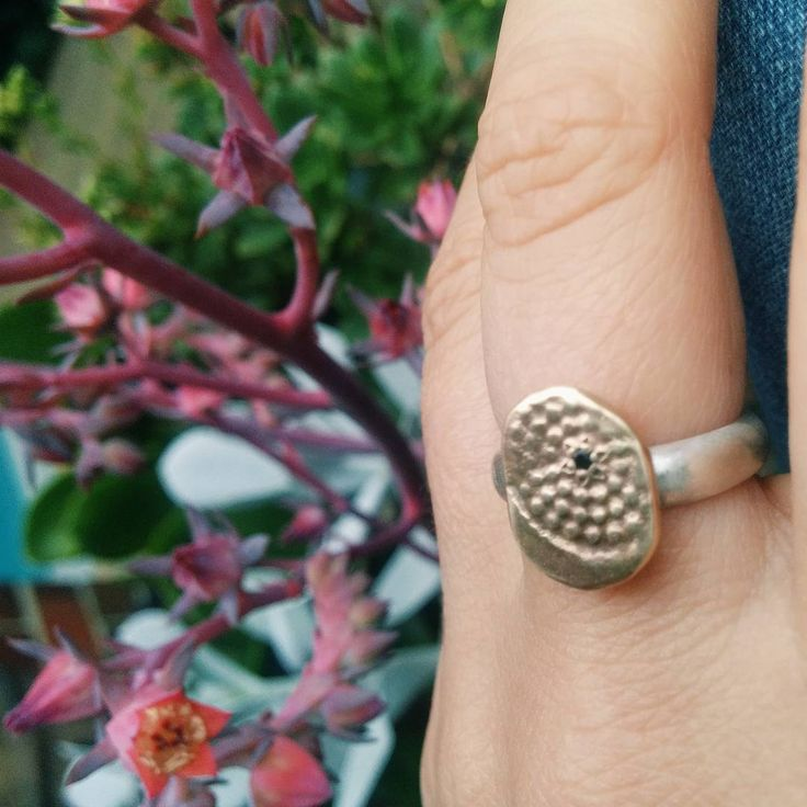 Textured Ring with Silver Band