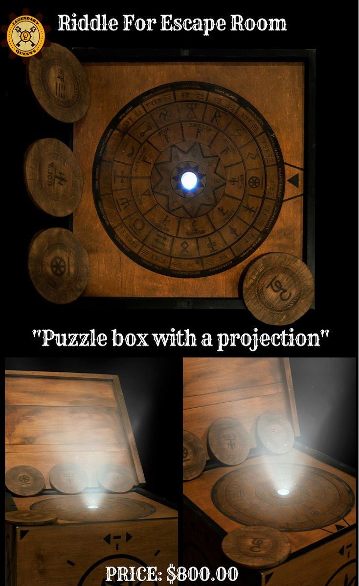 Puzzle Box With A Projection Ridlle Escape Room The Player S Task To Expose Rotating Circles In The Correct Positio Escape Room Puzzles Escape Room Puzzle Box