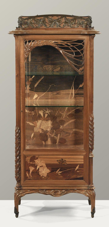 Rare set of twelve victorian solid oak leather antique chairs empire - Emile Gall 1846 1904 Vitrine Aux Bl S Vers 1903 Vitrine Aux Bl S Art Nouveau Furniturefurniture Designantique