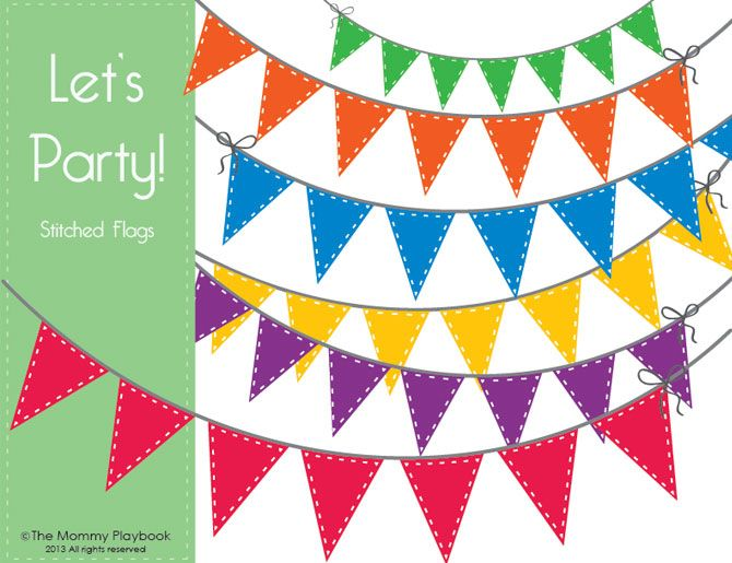What's New! - Let's Party! Free Bunting Party Flag Clipart - The Mommy Playbook