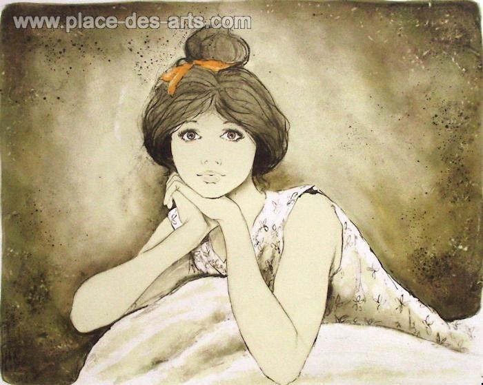 Jeune fille accoudée, Lithographie, du peintre, BERNARD, CHAROY, Signée et numérotée au crayon