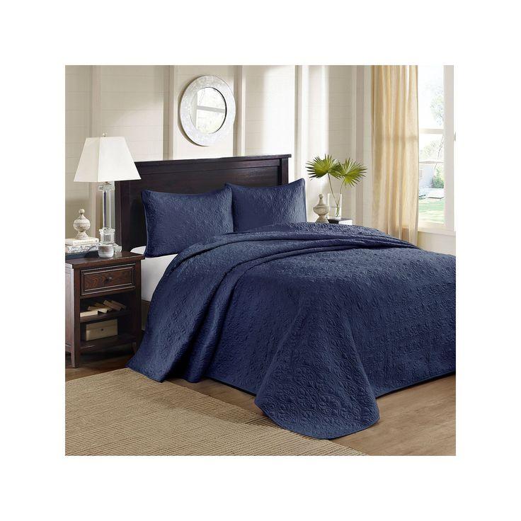 Madison Park Mansfield 3-pc. Bedspread Set, Blue (Navy)