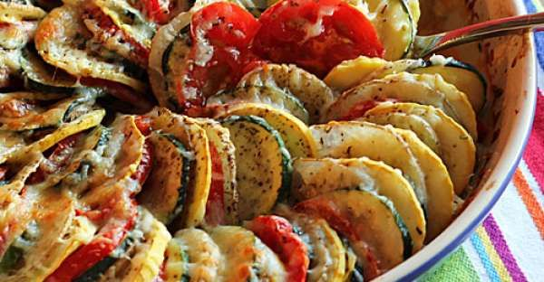 Baked Sliced Veggies au Gratin