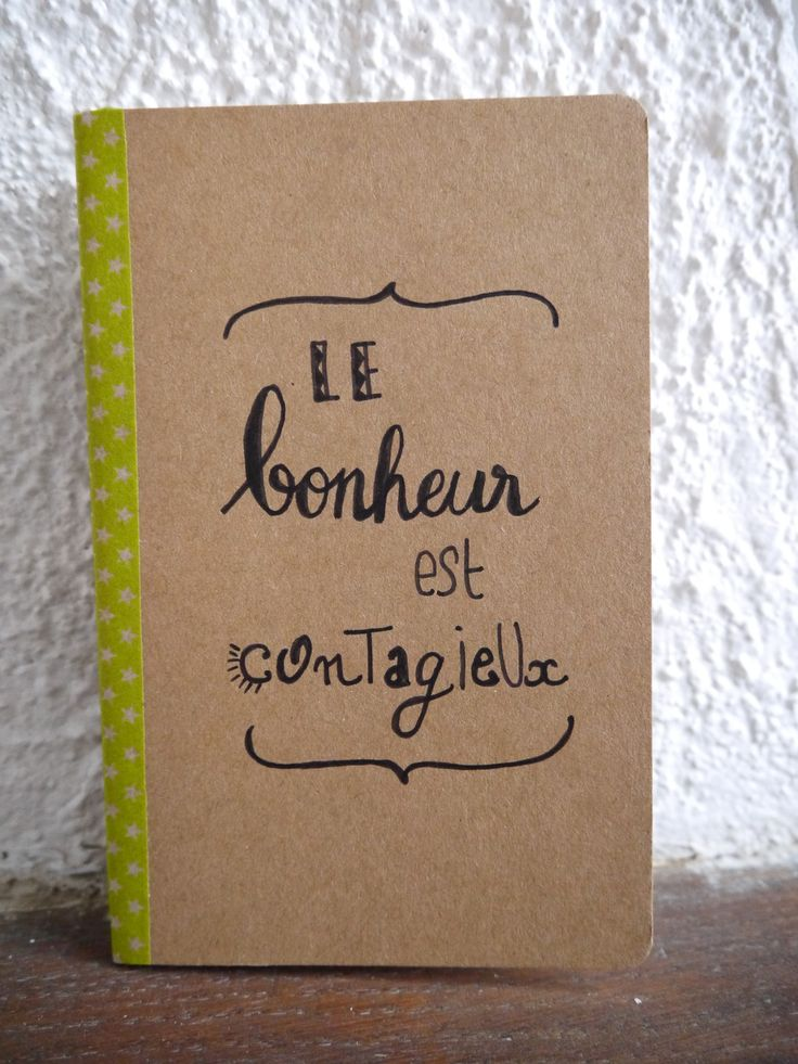 """Carnet de notes à lignes décoré à la main """"Le bonheur est contagieux"""" : Carnets, agendas par l-echoppe-optimiste"""