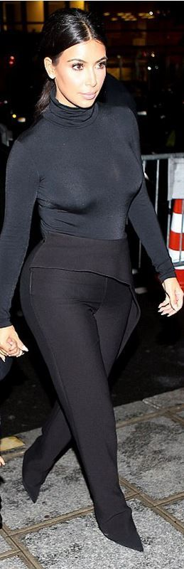 Who made  Kim Kardashian's black peplum pants and turtleneck top that she wore in Paris on September 24, 2014
