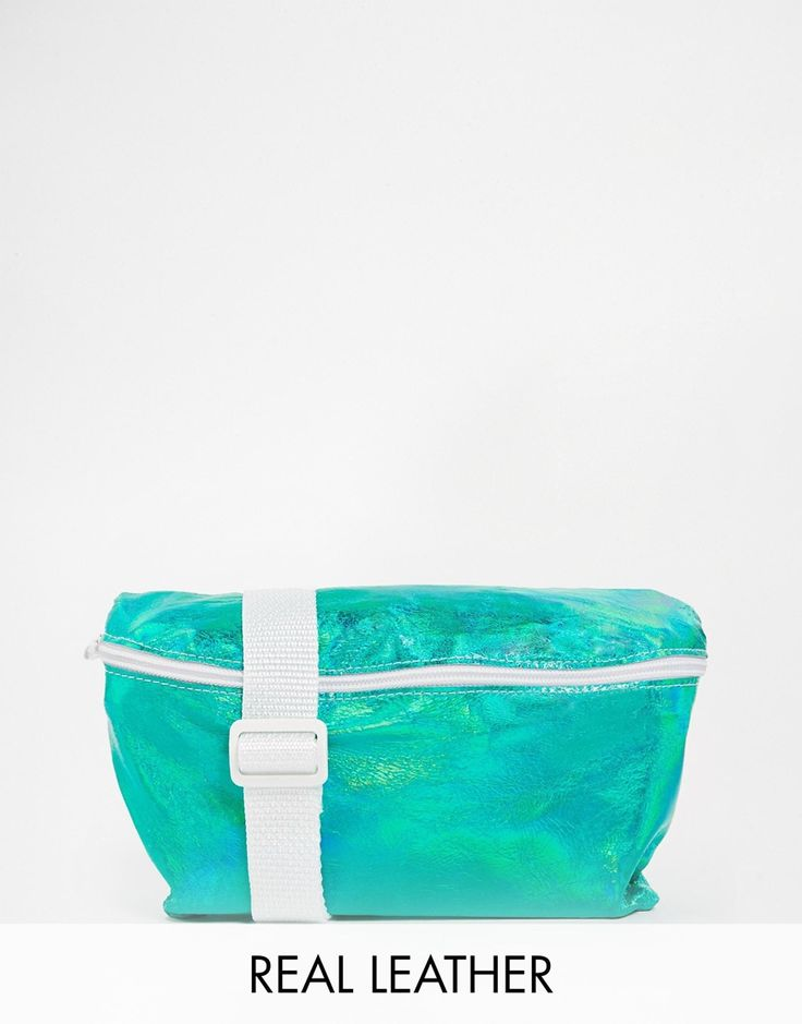 American Apparel Leather Bum Bag in Metallic Green