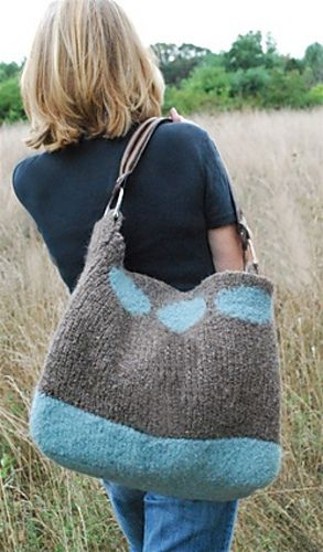 Huge knit bag.... pattern 'Soho Bag' by Authentic Knitting Board for Lion Brand FREE PDF download ravelry.com