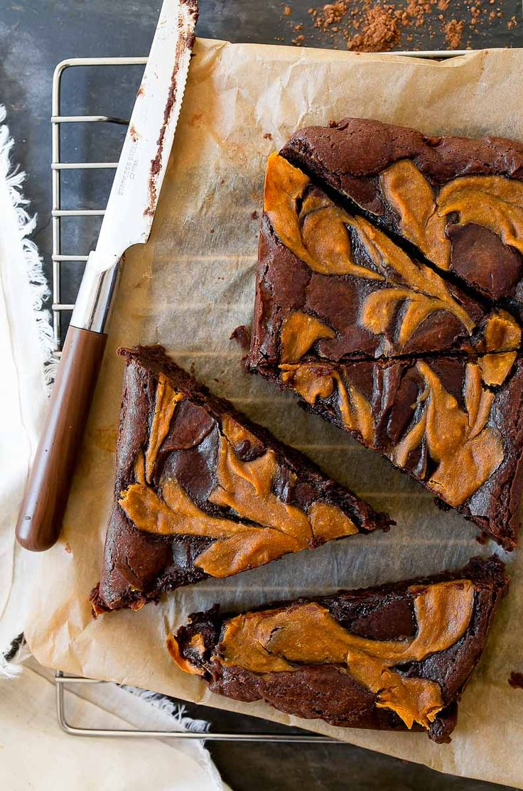 Pumpkin brownies for two: brownies swirled with pumpkin cream cheese filling. Brownies made in a loaf pan that serve two!
