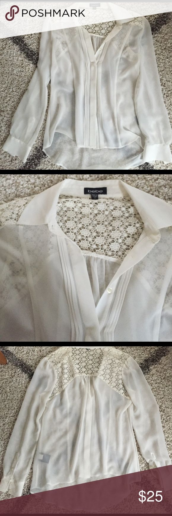 Bebe off white crochet button up shirt size XS Bebe off white crochet button up shirt size XS. Worn one time. Perfect condition! Sheer. 100% polyester. Tag says dry clean but you can probably gently hand wash. Shoulders are crochet. Can't remember exact price I bought it for but it's a ballpark. bebe Tops Button Down Shirts