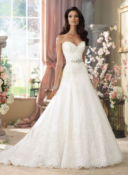 Wedding Dresses - $254.63 - A-Line/Princess Strapless Sweetheart Court Train Satin Tulle Wedding Dress With Beading Appliques Lace (0025062399)