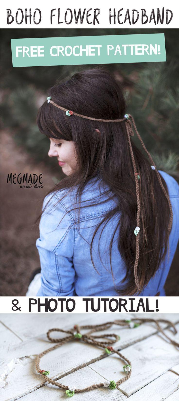 Free Crochet Pattern for an Easy Boho Flower Headband - Megmade with Love