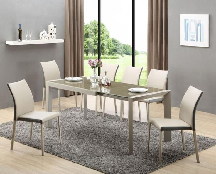 Arabis Extendable  Dining Table and 4 or 6 Eco leather Chairs set 122cm to 182cm