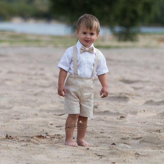 Anneau porteur tenue bébé garçon baptême vêtements tailleur en lin premier anniversaire shorts garçon avec bretelles bébé vêtements de cérémonie Beige clair tenue de mariage