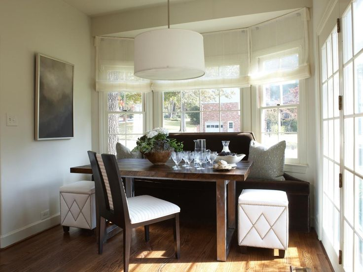 Dana Wolter Interiors Lovely Dining Space With Bay Windows Linen Roman Shades Chocolate Brown Velvet