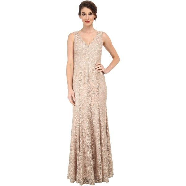 Eliza J Sleeveless V-Neck Mermaid Gown (Champagne) Women's Dress ($104) ❤ liked on Polyvore featuring dresses, gowns, gold, evening gowns, mermaid evening dress, lace evening dresses, evening cocktail dresses and lace gown
