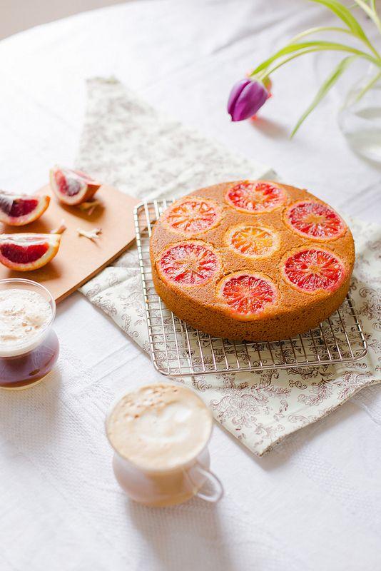 Blood Orange Polenta Cake -  bright and cheerful vegan citrus cake with blood oranges and polenta.
