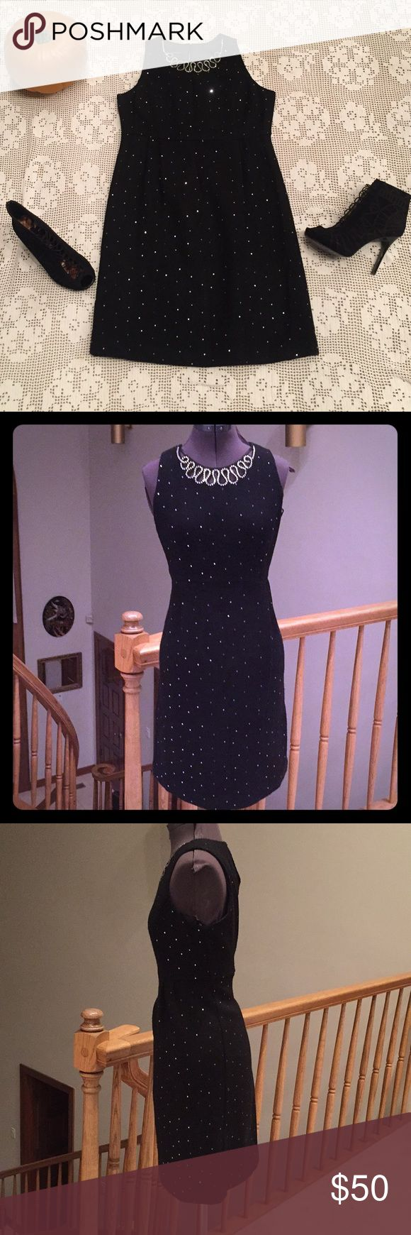 Holiday Sparkle Black & Silver Dress Holiday Sparkle Black & Silver Dress, sparkly black and silver dress, detailed jewels at the neck, absolutely beautiful on, wool like material, smoke free and pet free home, in PERFECT CONDITION, size 10, I.N.C brand INC International Concepts Dresses Midi