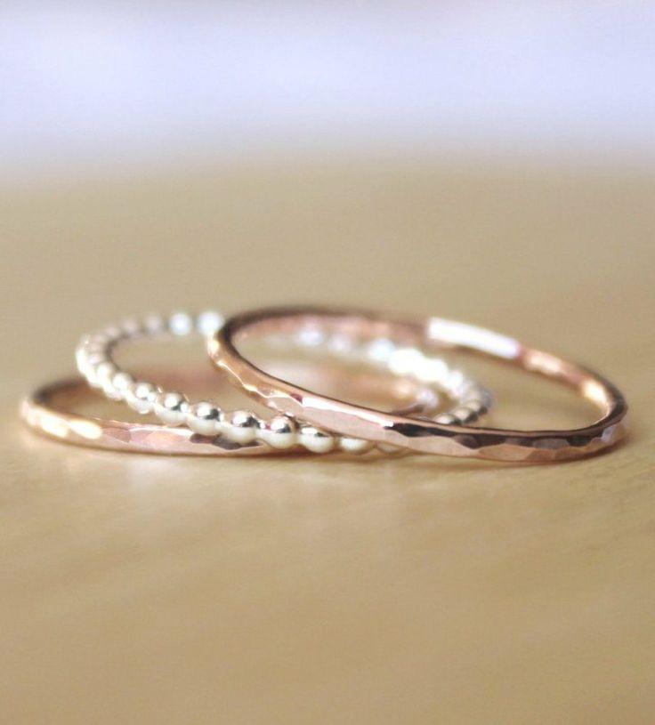Whisper Ring Trio in Rose Gold & Silver // $47