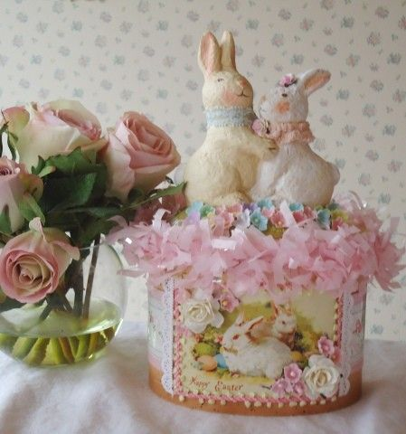 Easter Bunny Box - shabby pink and cottage sweet