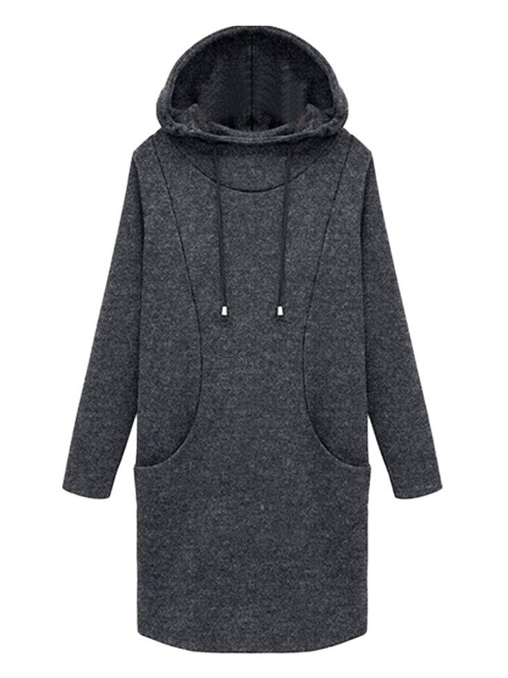 Gray Loose Long Sleeve Padded Hooded Dress