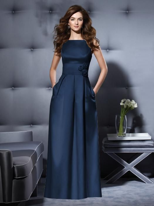 Navy midnight blue long bridesmaid dress, winter Christmas wedding $130-$180. Dessy Collection Style 2796 http://www.dessy.com/dresses/bridesmaid/2796/#.UtG3n_RDuAU